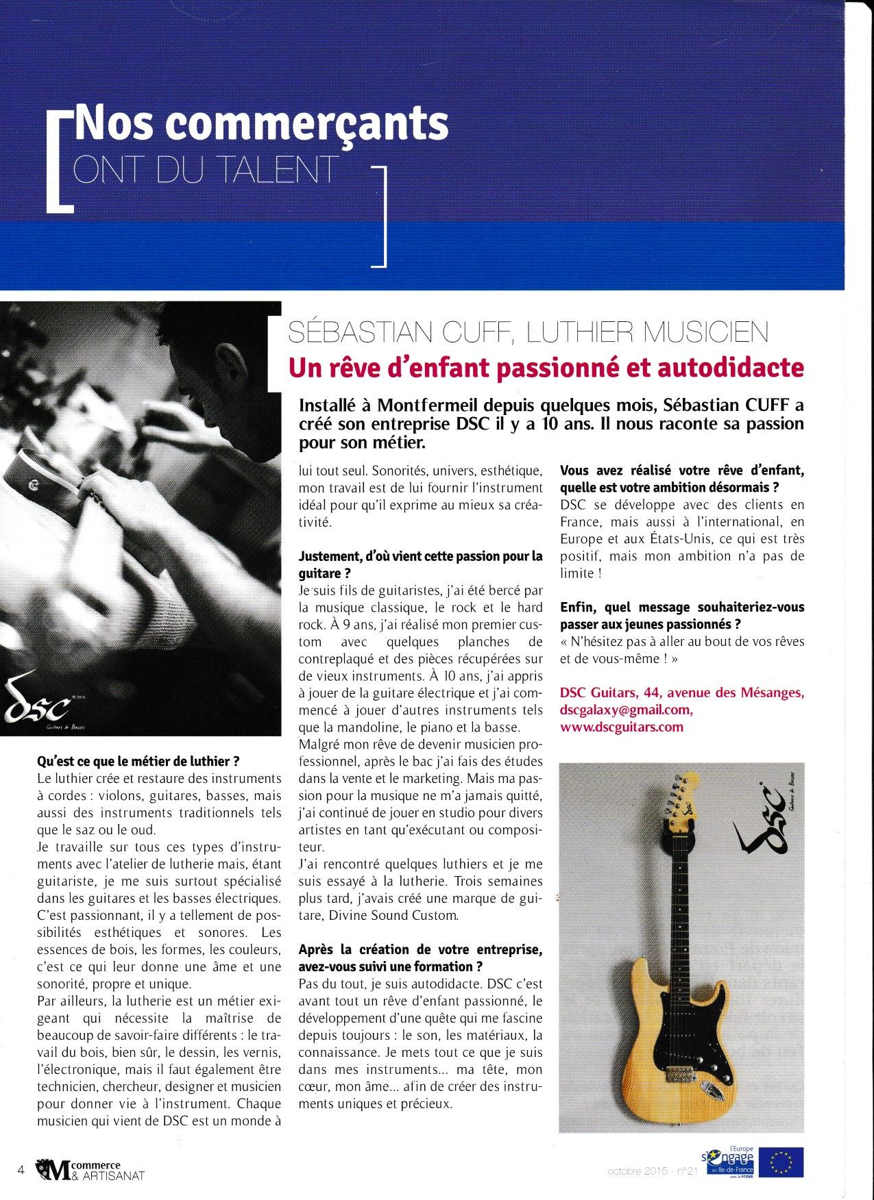 Photo sur 15/11/2015 Article Dsc dans la lettre des artisans de Montfermeil Magazine